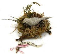 Glitter Bird on Nest.  Catalog - Wendy Addison Spring