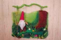 The Little Gnome in the forest (3D wall hanging  in waldorf tradition). $89.00, via Etsy.