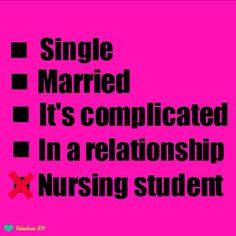 Nursing student. Nurse humor. Student RN. Nursing student relationship status.