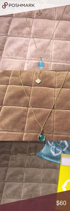 Kendra Scott Bradyn turquoise blue necklace turquoise blue with gold chain, worn once, in new condition, comes with bag and box that is pictured, chain is adjustable in size Kendra Scott Jewelry Necklaces