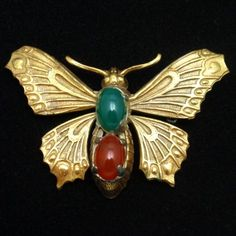 Butterfly Brooch Pin Vintage Brass