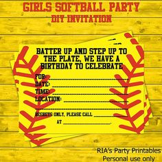 Girls Softball Party DIY Invitations by RIAsPartyPrintables, $5.00