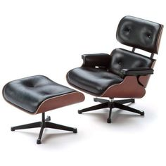 Vitra Home Eames Lounge Chair & Ottoman (380 060 UAH) ❤ liked on Polyvore featuring home, furniture, black, vitra, black furniture and vitra furniture