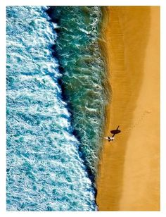 Gorgeous aerial view of sand and two shades of surf. Sup Yoga, All Nature, Birds Eye View, Surfs Up, Salt And Water, Aerial Photography, Landscape Photography, Mellow Yellow, Ocean Waves