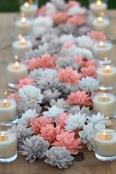 Coral & Grey Mixed Wooden Flowers & Votive Candles.