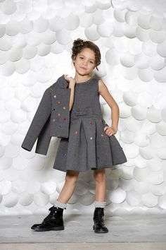 First Look Fall/Winter From Deux par Deuxs 30 Years of Style Collection, the elegant dress and matching cardigan Baby Girl Party Dresses, Little Girl Dresses, Baby Dress, Girls Dresses, Little Girl Fashion, Fashion Kids, Stylish Toddler Girl, Frocks For Girls, Toddler Dress