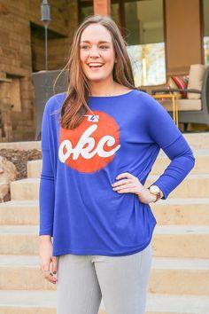 OKC Script Piko Style Tunic from Kickoff Couture #okc #thunder #oklahomacity #bolt #piko #tunic #gameday #kickoffcouture