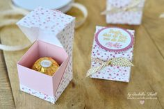 gifts bag Frhlingshafte Rocher-Verpackung m - gifts Diy Gifts For Girlfriend, Diy Gifts For Him, Diy Gift Box, Diy Box, Stamping Up, Thermomix Party, Ferrero Rocher Box, Diy Stamps, Origami Diy