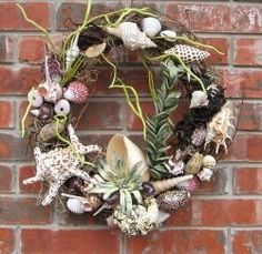 grapevine seashell wreath - Google Search