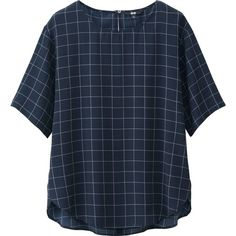UNIQLO Women Soft Woven Short Sleeve T Blouse ($30) ❤ liked on Polyvore featuring tops, blouses, blue short sleeve top, woven blouse, blue blouse, uniqlo and short sleeve tops