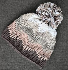 Best Cost-Free Crochet Hat with pom pom Suggestions Crochet Pattern Chevron Pom Pom Hat Toque PDF: The Mya Hat Easy Knitting Projects, Crochet Projects, Crochet Crafts, Yarn Crafts, Crochet Stitches, Knit Crochet, Crochet Baby, Booties Crochet, Crotchet