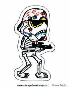 Storm Trooper Calavera Die Cut Vinyl Sticker by MisNopalesArt, $1.50