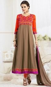 Orange and Brown Color Georgette Anarkali Churidar Suit #longflaredanarkali #girlsanarkali Step out with ever lasting elegance and flaunt your traditional looks owning this orange and brown color georgette Anarkali churidar suit. The gorgeous lace and resham work all through attire is awe-inspiring. USD $ 79 (Around £ 55 & Euro 60)