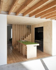 Image 2 of 36 from gallery of Conversion of a Townhouse in Brussels / Label architecture. Photograph by bepictures Cabin Design, House Design, Plywood Interior, Japanese Interior, Deco Design, Woodworking Projects Plans, Amazing Bathrooms, Architecture, Modern Rustic