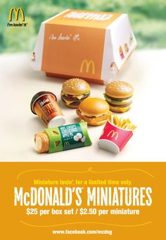 Loving Mcdonald's Miniatures by Kiah Lim, via Behance Wish I had these when I was younger Cute Polymer Clay, Polymer Clay Miniatures, Dollhouse Miniatures, Barbie Miniatures, Miniature Crafts, Miniature Food, Miniature Dolls, Barbie Food, Doll Food