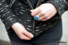 anello realizzato con cabochon in fimo e perline Myuki