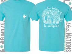 Turquoise Elephant Comfort Colors Tshirt designed to help share God's love with children in need through fashion! Let these Hallelujahs be Multipled! #tshirtsreplacetarps