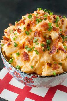 Best 4th of July Recipes and Backyard BBQ ideas - Potato Salad Recipe with Bacon & Sriracha at http://diyjoy.com/best-4th-of-july-recipes-ideas