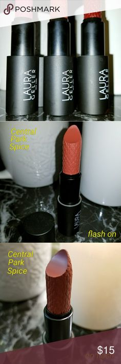 Laura Geller Iconic Baked Sculpting Lipstick Laura Geller Iconic Baked Sculpting Lipstick in three colors. None have been used or swatched, only opened cap for photos. Not sure if there was a box when I bought but no box included in any. All are 100% authentic and were purchased from Ulta in December 2017. I have East Side Rouge (dusty mauve), Central Park Spice (warm cinnamon), & Broadway Plum (deep aubergine). Laura Geller Makeup Lipstick