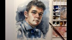Watercolour portrait REAL TIME painting demo by Ch.Karron