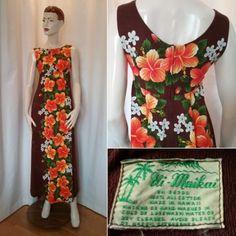 Vintage retro Hawaii-klänning lång brun med orange blommor 60-tal. Till salu 36f77b5085475