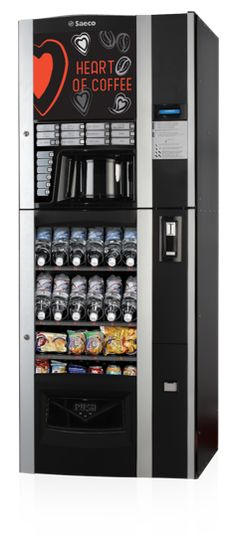 Elegant and modern, Saeco produce an extremely innovative vending machine that dispenses both hot and cold drinks as well as snacks. Drink Vending Machines, Hot Snacks, Sugar Container, Water Supply, Coffee Machine, French Door Refrigerator, Coffee Beans, Liquor Cabinet, Locker Storage