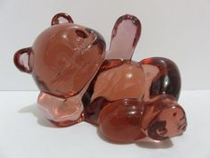 Fenton Glass Amber/Berry Laying Reclining Bear Paperweight Figurine Fenton Label #Fenton