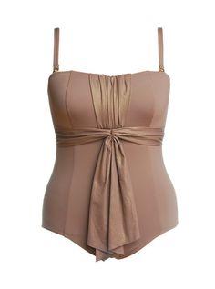 Gorgeous, golden, plus size bathing suit