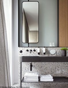 17 Fresh & Inspiring Bathroom Mirror Ideas to Shake Up Your Morning Lipstick Routine - Tall Skinny Mirror 2 - Modern Bathroom Mirrors, Beautiful Bathrooms, Master Bathroom, Paris Bathroom, Master Baths, Bathroom Black, Modern Bathrooms, Simple Bathroom, Bathroom Vanities