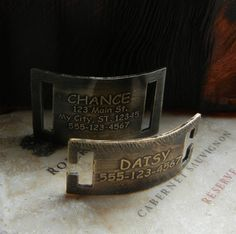 Etched Dog Pet ID Collar Tag Nickel Silver, Brass or Copper slide on or snap on. on Etsy, $18.00