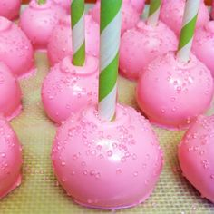 Pink and green cake pops