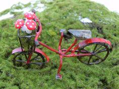 Miniature Bicycle -  fairy garden furniture bike red mushroom on Etsy, $9.95