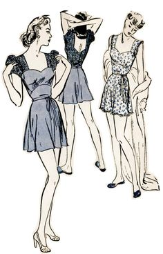1940s 40s Butterick 3018 vintage lingerie pattern step in teddy sweetheart neckline lace puff sleeves nightgown negligee Bust 34 B34