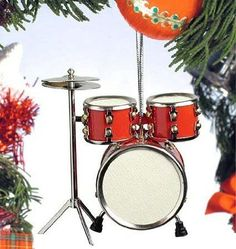 Red Drum Set Hanging Ornament Music Musical Instrument Or...
