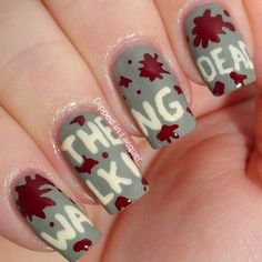 The Walking Dead Nails! Zombie nails, blood, TV Shows, cool nails, nail art, titles, words, splatters, Halloween, Dipped in Lacquer, Nailpro Magazine