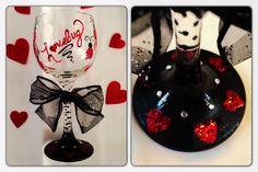 Hand painted, glittered and even some bling! Valentines Day wine glass. By Samantha Blair