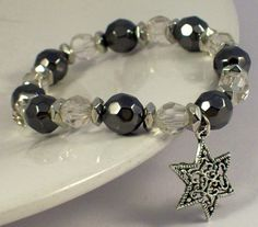 Silver Star Black Bling Bracelet by Michelleshandcrafted on Etsy, £10.00