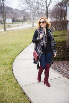 Plaid Cardigan Chic | Mixing plaid and oxblood for a chic winter look. http://kathrineeldridge.com/plaid-cardigan-chic/