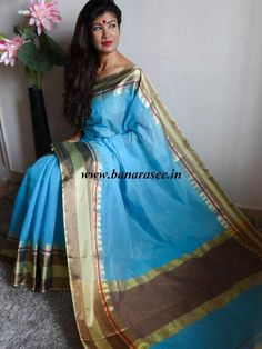 Banarasee/Banarasi Pure Cotton Silk Saree With Satin Border-Sky Blue