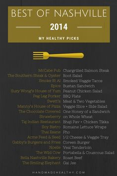 MY HEALTHY PICKS FROM THE BEST OF NASHVILLE 2014
