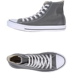CONVERSE ALL STAR High-tops (£83) ❤ liked on Polyvore featuring shoes, sneakers, converse, footwear, grey, grey sneakers, grey high top sneakers, converse trainers, leather high tops and high top shoes
