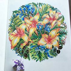 @Regrann from @yuzu__a_a -  ゆりがハイビスカスに見える 配色ミス  #世界一美しい花のぬり絵book #floribunda…