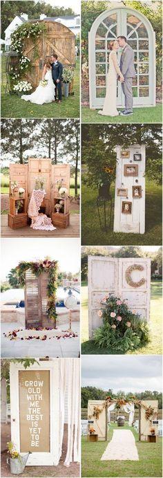 rustic old door wedding ideas- country outdoor wedding decors - Deer Pearl Flowers