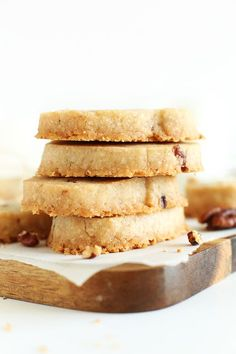 Vegan and gluten-free banana pecan shortbread cookies made with just 7 ingredients and 1 bowl. Perfectly crisp with a slight tenderness, perfectly nutty and sweet, and perfect for gifting or taking on road trips.