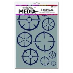 Create layers of colors, texture and design with Media Stencils and Media Masks from Dina Wakley. Use with Dina Wakley Media Heavy Body Acrylic Paints and Mediums. Media Masks feature both positive and negative images. Measuring a 6 x 9 inch footprint.