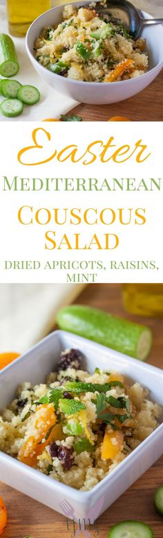 This Mediterranean Couscous Salad will have everyone wanting seconds on your Easter table this year! Mixed with fresh herbs, dried fruits, and a lemon vinaigrette, this salad is sure to please.
