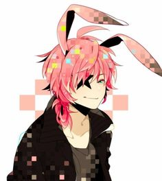 pink bunny ears hair star anime