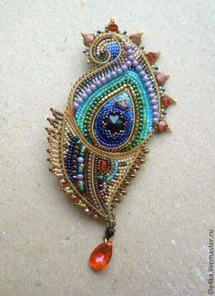 Beaded feather by Olga orlova