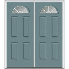 Milliken Millwork 66 in. x 81.75 in. Classic Clear Glass GBG 1/4 Lite 4 Panel Painted Majestic Steel Exterior Double Door, Riverway