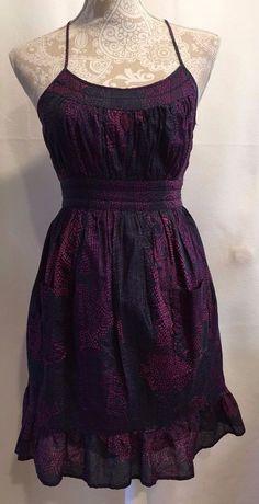 ECOTE Anthropologie Black Purple Halter Lined Pockets Flounce Dress Sz Small S #ECOTEAnthropologie #Flounce #Casual